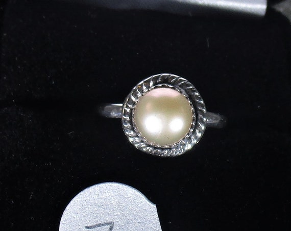 genuine freshwater cultured pink pearl handmade sterling silver statement ring size 7