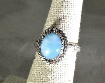 genuine larimar gemstone handmade sterling silver statement ring size 5 1/2