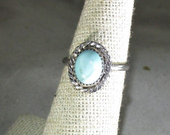 Genuine Arizona turquoise gemstone cabachon handmade sterling silver statement ring size 5 1/4