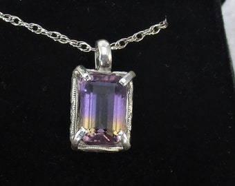 genuine Ametrine gemstone handmade sterling silver pendant necklace
