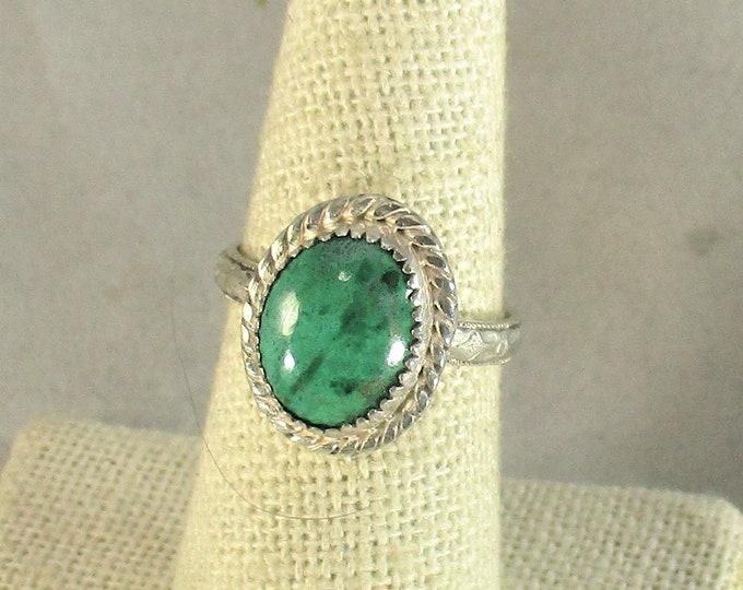 genuine chrysocolla gemstone cabachon handmade sterling silver statement ring size 8
