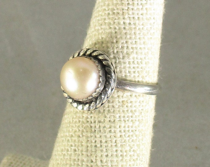 genuine freshwater cultured pink pearl handmade sterling silver solitaire ring size 5