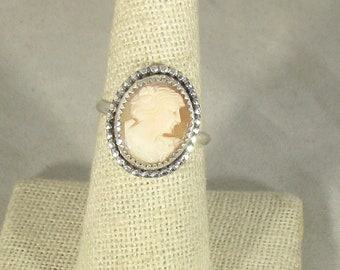 genuine Italian handcarved cameo handmade sterling silver ring size 7 1/2