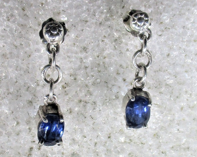 genuine Afaganistian kyanite gemstone handmade sterling silver dangle stud earrings