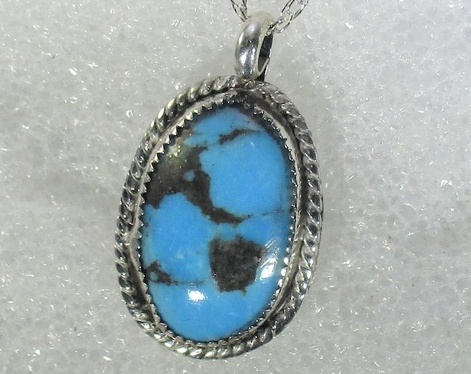 genuine Kingman mine ithaca peak high blue turquoise handmade sterling silver pendant necklace