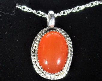 genuine carnelian gemstone handmde sterling silver pendant necklace
