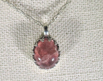 genuine strawberry quartz cabachon handmade sterling silver pendant necklace