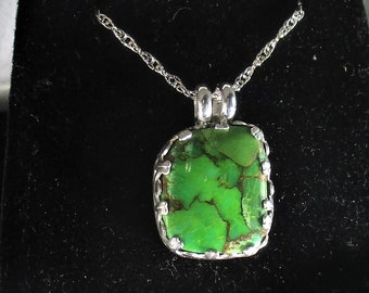 genuine Mohave green turquoise gemstone handmade sterling silver pendant necklace