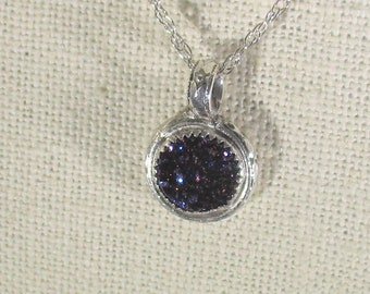 genuine druzy quartz handmade sterling silver pendant necklace
