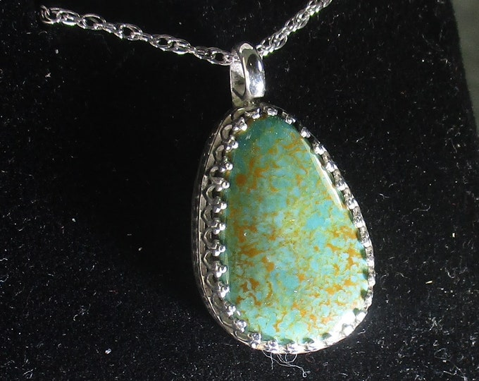 Lick skillet blue green turquoise gemstone handmade sterling silver pendant necklace