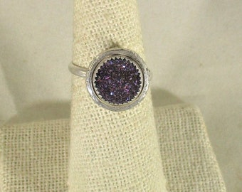 genuine druzy quartz handmade sterling silver statement ring size 7