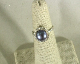 genuine freshwater cultured black pearl handmade sterling silver solitare ring size 6