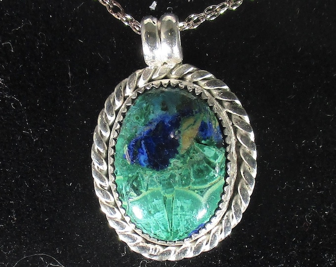 Azurite-malachite gemstone handmade sterling silver pendant necklace