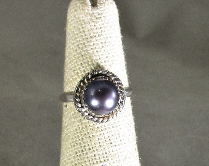 genuine freshwater cultured black pearl handmade sterling silver solitaire ring size 5 1/2