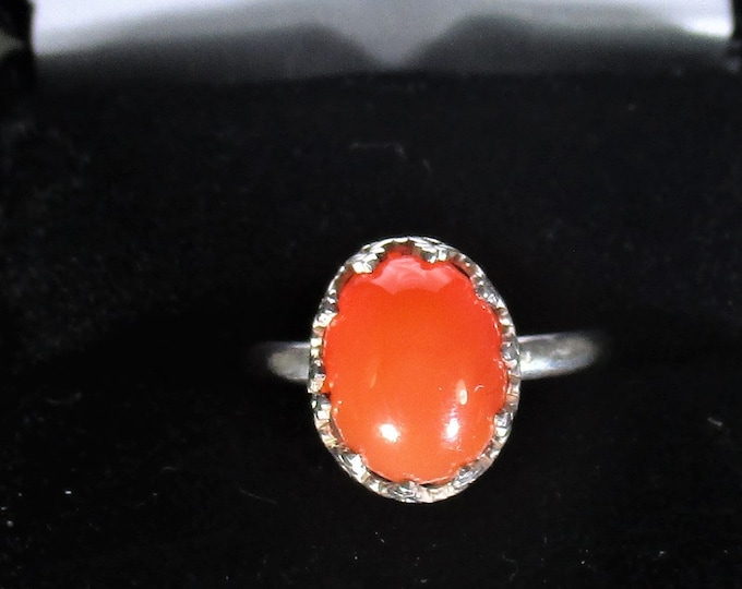 genuine carnelian gemstone handmade sterling silver statement ring size 6 1/2