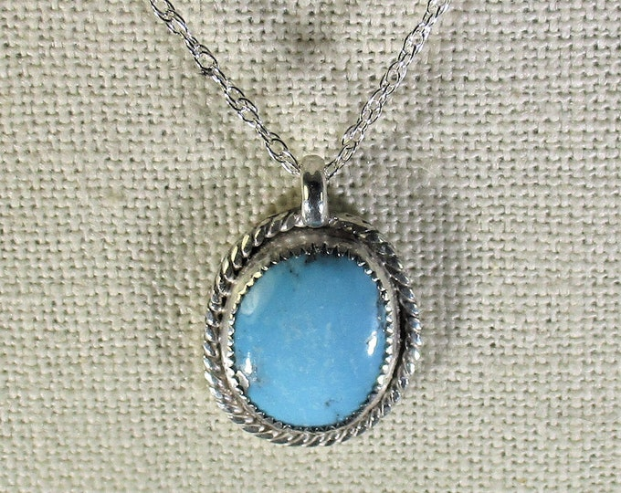 genuine old stock Ithaca peak high blue turquoise gemstone handmade sterling silver pendant necklace