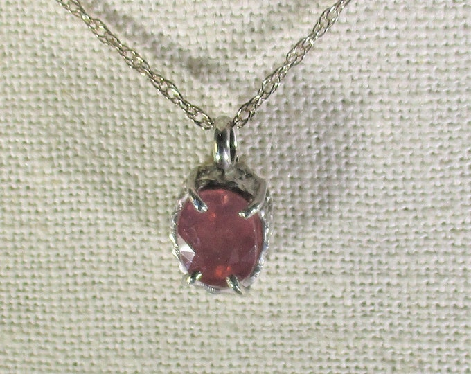 genuine padpradascha sapphire gemstone handmade sterling silver pendant necklace