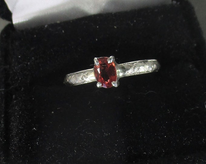 genuine flawless orange red sapphire gemstone handmade sterling silver solitaire ring size 9