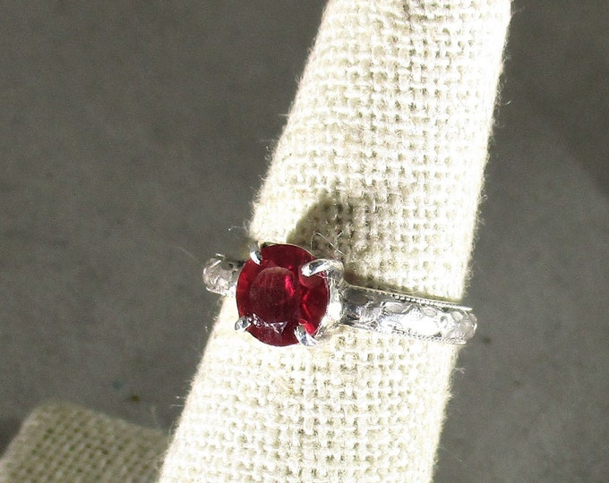 Ruby gemstone handmade sterling silver solitaire ring size 6 1/2