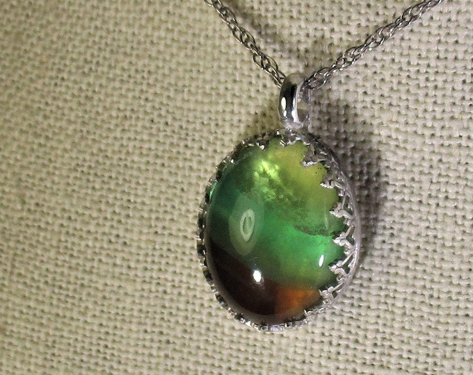 genuine tri color fluorite gemstone handmade sterling silver pendant necklace