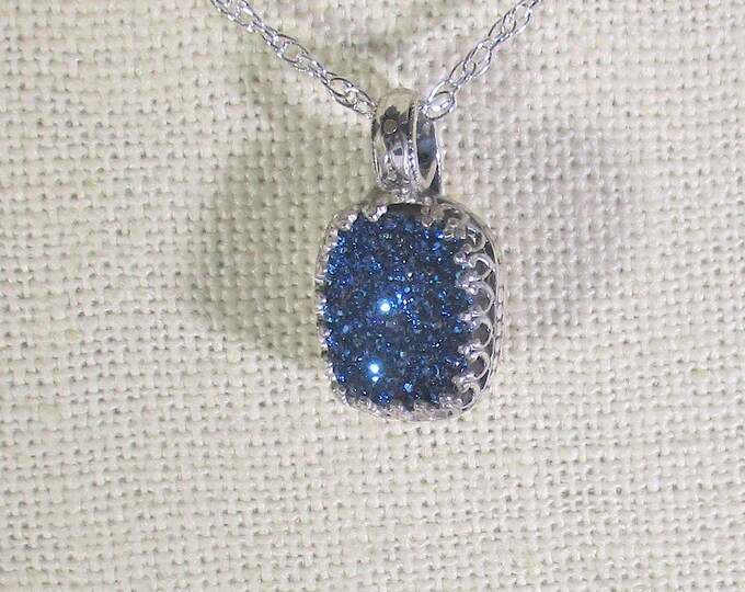 genuine druzy quartz handamde sterling silver pendant necklace