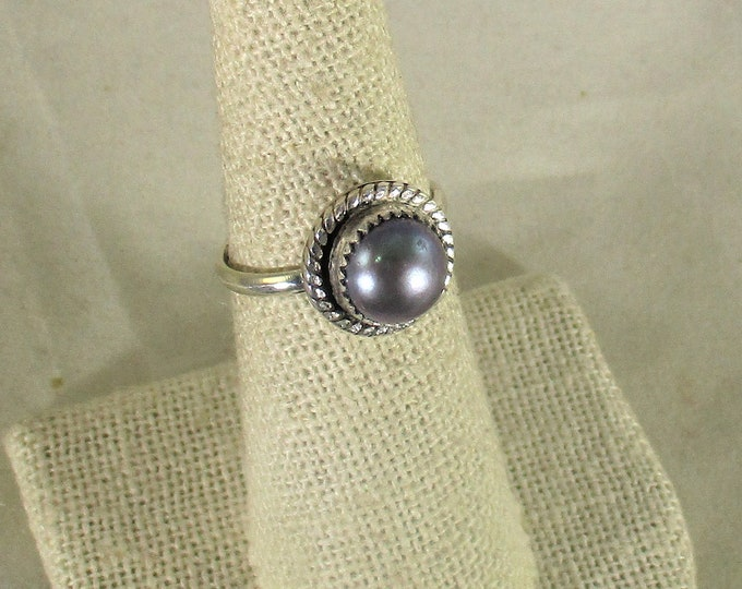 genuine freshwater cultured black pearl handmade sterling silver solitaire ring size 8