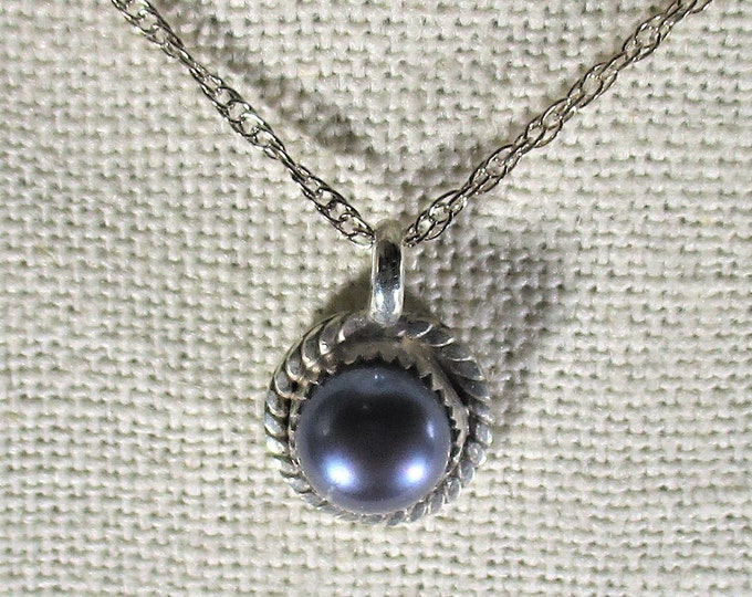genuine freshwater black cultured pearl handmade sterling silver pendant necklace