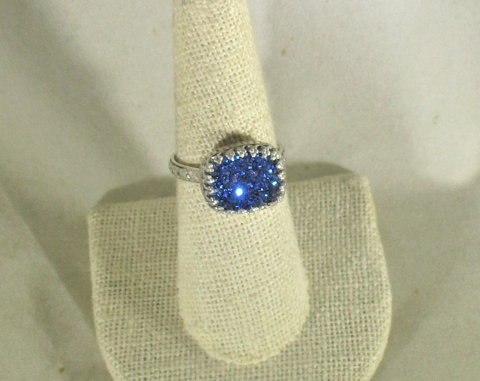 genuine druzy quartz handmade sterling silver statement ring size 7 3/4
