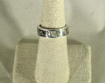premium abalone paua shell inlay handmade sterling silver ring
