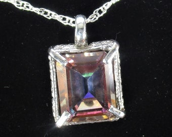 Genuine aztoic topaz gemstone handmade sterling silver pendant necklace
