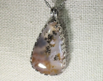 genuine moss agate gemstone cabachon handmade sterling silver pendant necklace