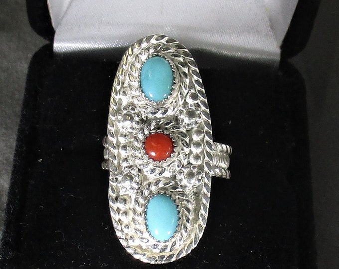 genuine Arizons turquoise and Italian red coral handmade sterling silver statement ring size 7 1/2