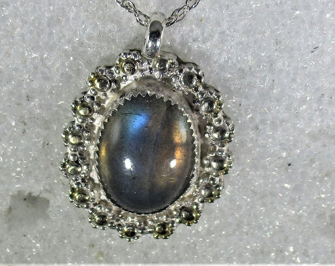 Beautiful  Labradorite handmade mirror like sterling silver pendant necklace free shipping
