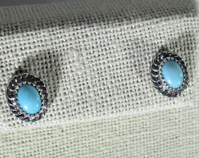 genuine Arizona turquoise gemstone handmade sterling silver stud earrings