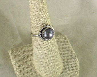 genuine freshwater cultured black pearl handmade sterling silver solitare ring size 9