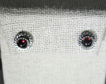 genuine Mozambique garnet cabachons handmade sterling silver stud earrings