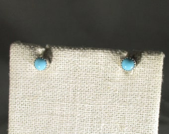 Arizona turquoise handmade sterling silver stud earrings