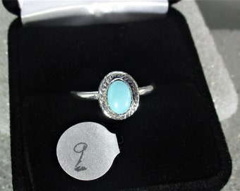 genuine turquoise gemstone handmade sterling silver statement ring sz 9