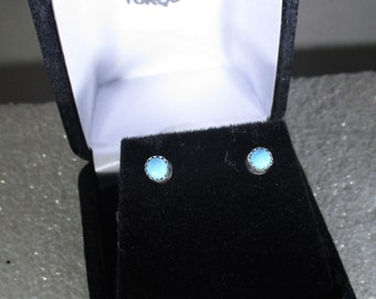 genuine Arizona turquoise handmade sterling silver stud post earrings