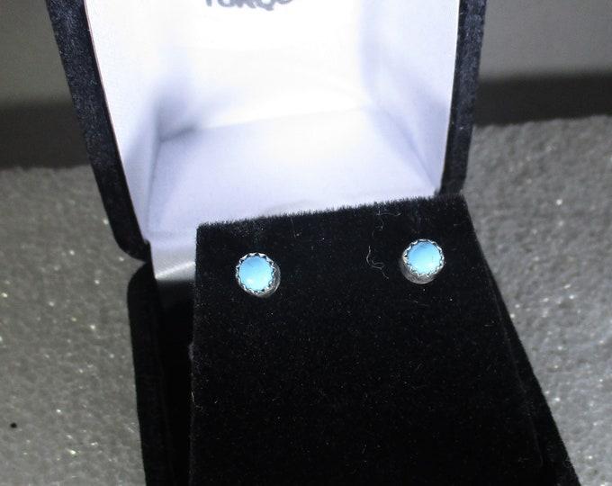 genuine Arizona turquoise handmade sterling silver stud post earrings