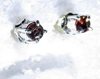 genuine orange sapphire gemstones handmade sterling silver stud earrings by Kelnjo