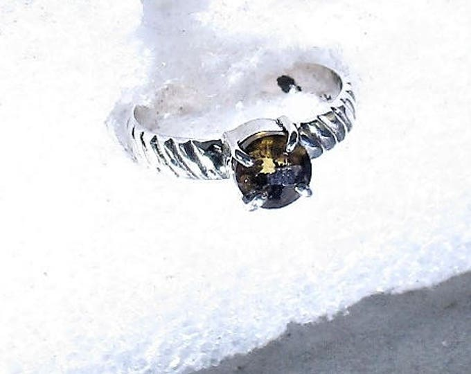 genuine 6 mm Whiskey quarts gemstone handmade sterling silver stacking solitarire ring by Kelnjo sz 6 1/2