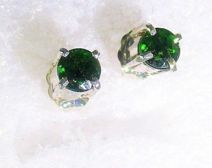Genuine Russian Chrome Diopside handmade sterling silver stud earrings by Kelnjo