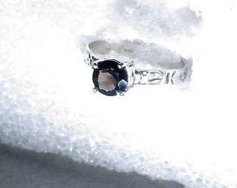 gemine 6mm smoky quartz gemstone handmade sterling silver solitaire stacking ring by Kelnjo sz 6 1/2