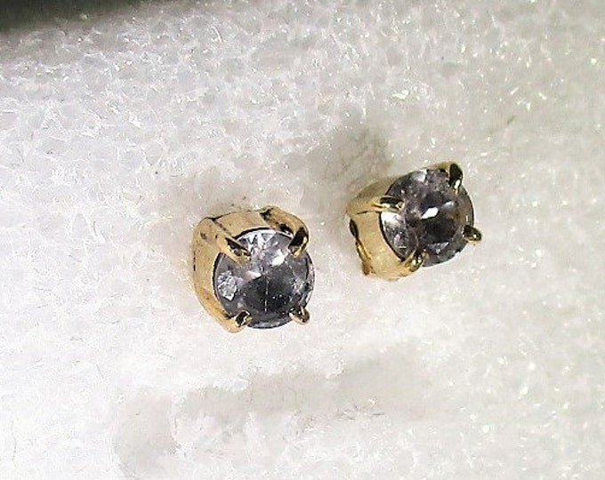 5mm genuine morganite 14k solid gold stud earrings by Kelnjo (Free Shipping)
