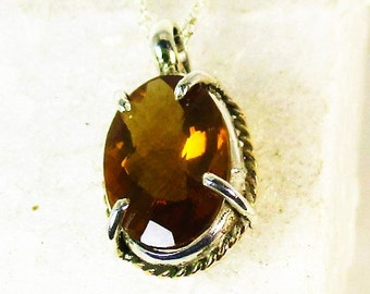 genuine whiskey quartz gemstone sterling silver pendint necklace with gold fill trim by Kelnjo