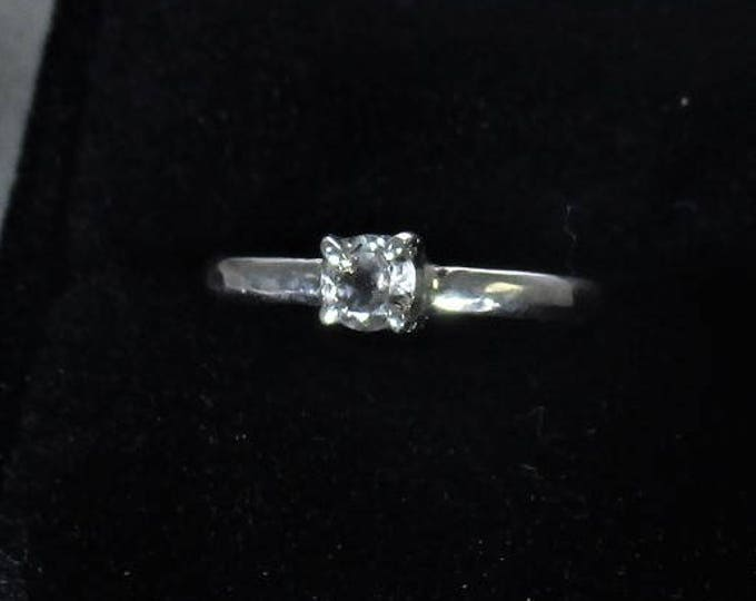 White topaz handmade sterling silver solitaire ring - topaz ring - topaz jewelry - stacking ring - genuine topaz