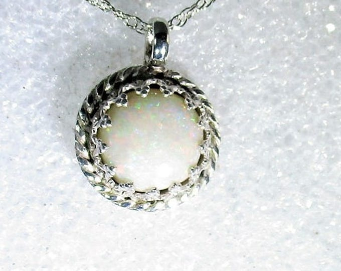 genuine high grade Australian opal gemstone handmade sterling silver pendant by Kelnjo  (Free Shipping)