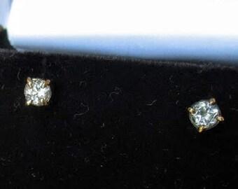 14k gold White topaz stud earrings by Kelnjo (Free Shipping)