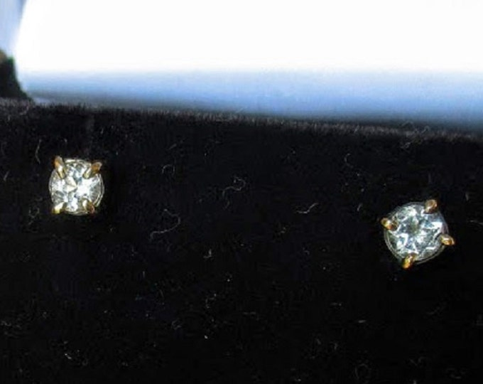 14k gold White topaz stud earrings by Kelnjo (Free Shipping)